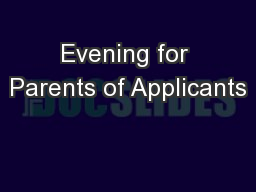 Evening for Parents of Applicants