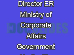 Omce of tbe Regional Director ER Ministry of Corporate Affairs Government of India  Floor