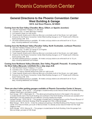 General Directions to the Phoenix Convention Center