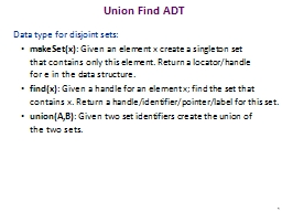 Union Find ADT