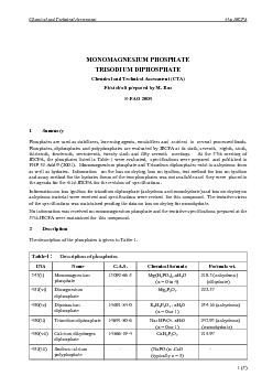 Chemical and Technical Assessment Phosphates 61st JECFA