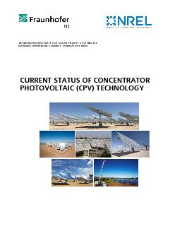 CURRENT STATUS OF CONCENTRATOR PHOTOVOLTAIC (CPV) TECHNOLOGYFRAUNHOFER