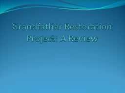 Grandfather Restoration Project: A Review