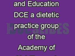 Lilly Diabetes My Carbohydrate Guide  My Carbohydrate Guide Diabetes Care and Education DCE a dietetic practice group of the Academy of Nutrition and Dietetics promotes quality diabetes care and educ