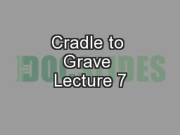Cradle to Grave Lecture 7