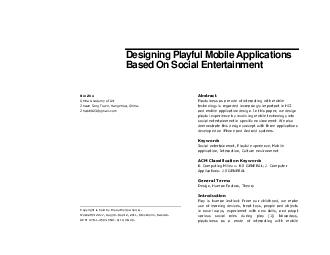 Designing Playful Mobile Applications Based On Social Entertainment