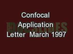 Confocal Application Letter  March 1997
