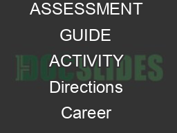 CAREER ASSESSMENT GUIDE ACTIVITY Directions Career Choices in NC brPag