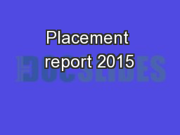 Placement report 2015