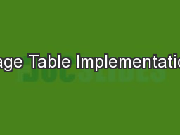 Page Table Implementation PowerPoint PPT Presentation