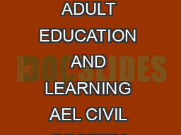 ALADIN Subject Categories ADULT EDUCATION AND LEARNING AEL CIVIL SOCIETY CSO COM PDF document - DocSlides