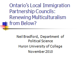 Ontario's Local Immigration Partnership Councils: Renewin PowerPoint PPT Presentation