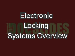 Electronic Locking Systems Overview