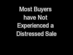Most Buyers have Not Experienced a Distressed Sale