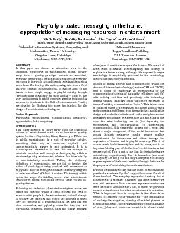 appropriation of messaging resources in entertainment  Mark Perry1, Do