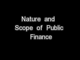 Nature  and  Scope  of  Public  Finance