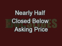 Nearly Half Closed Below Asking Price