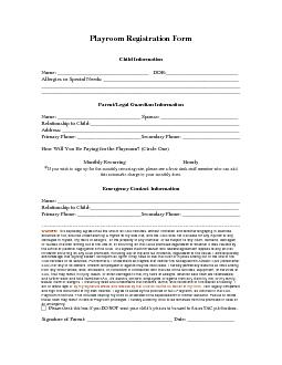 Playroom Registration Form