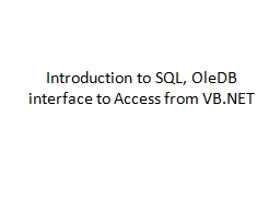 Introduction to SQL,