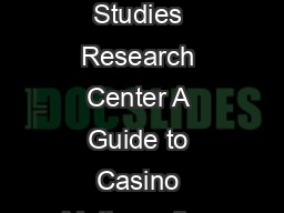 Casino Math Guide UNLV Gaming Studies Research Center A Guide to Casino Mathematics Robert C