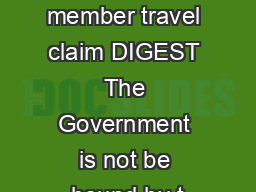 KEYWORDS military member travel claim DIGEST The Government is not be bound by t PowerPoint PPT Presentation