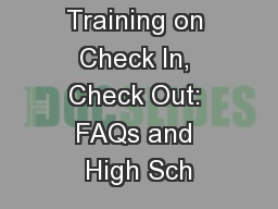 Advanced Training on Check In, Check Out: FAQs and High Sch