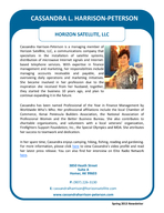 Cassandra Harrison Peterson is a managing member of Horizon Satellite LLC a communications company that specializes in the installation of satellite systems distribution of microwave Internet signals