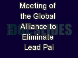 Second Meeting of the Global Alliance to Eliminate Lead Pai
