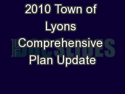 2010 Town of Lyons Comprehensive Plan Update