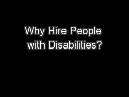 Why Hire People with Disabilities?