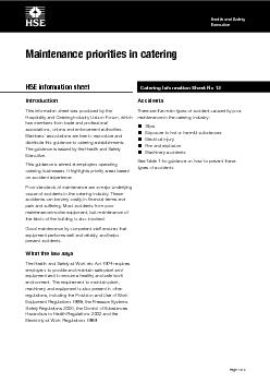of  pages Health and Safety Executive Health and Safety Executive Catering Information Sheet No  HSE information sheet Maintenance priorities in catering Introduction This information sheet was prod