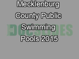 Mecklenburg County Public Swimming Pools 2015