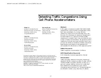 Detecting Traffic Congestion s Using Cell Phone Accelerometers
