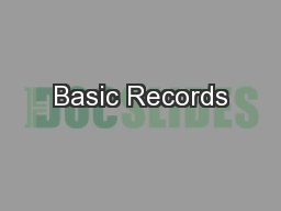 Basic Records