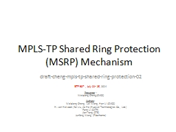 MPLS-TP Shared Ring Protection (MSRP) Mechanism PowerPoint PPT Presentation