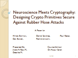 Neuroscience Meets Cryptography: PowerPoint PPT Presentation