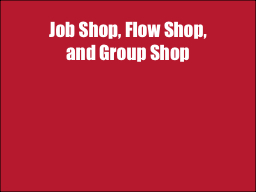 Job Shop, Flow Shop,