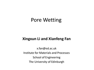 Pore Wetting PowerPoint PPT Presentation