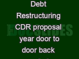 January  Suzlon Group announces formal approval of Corporate Debt Restructuring CDR proposal  year door to door back ended repayment plan Interest rates reduced by three per cent Two year moratorium