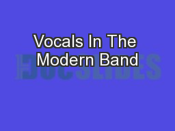 Vocals In The Modern Band