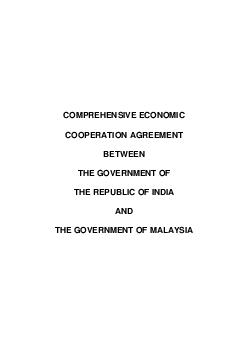 COMPREHENSIVE ECONOMIC COOPERATION AGREEMENT BETWEEN THE GOVERNMENT OF