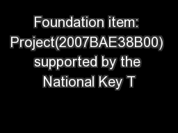 Foundation item: Project(2007BAE38B00) supported by the National Key T