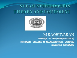 Steam sterilization  theory and equipment