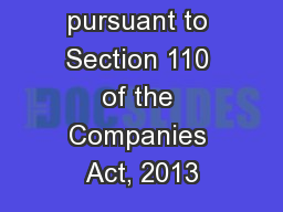 Notice pursuant to Section 110 of the Companies Act, 2013