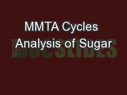 MMTA Cycles Analysis of Sugar
