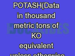 POTASH(Data in thousand metric tons of KO equivalent unless otherwise