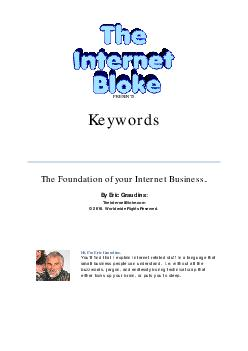 PRESENTS Keywords The Foundation of your Internet Business