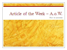 Article of the Week –