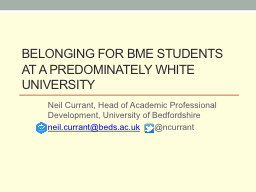Belonging for BME students at a predominately white univers