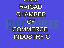 RCCI RAIGAD CHAMBER OF COMMERCE  INDUSTRY C